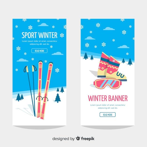 Bannière de sport d'hiver Vecteur gratuit