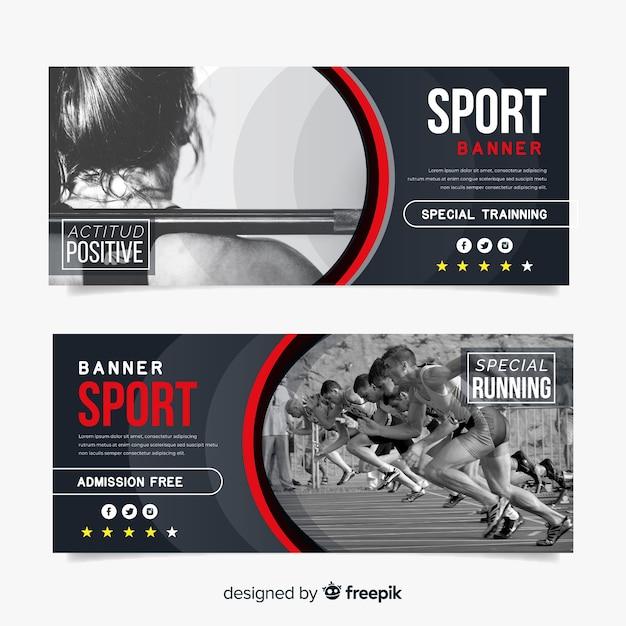 Bannière de sport plat avec photo Vecteur gratuit