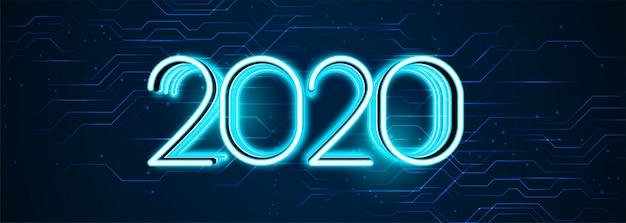 Bannière style technologique bonne année 2020 Vecteur gratuit