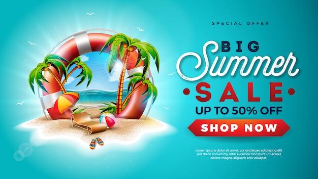 Bannière summer sale avec bouée de sauvetage et palmiers exotiques Vecteur Premium