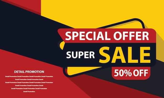 Bannière super sale Vecteur Premium