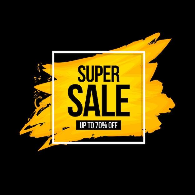 Bannière super vente aquarelle Vecteur Premium