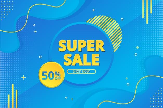 Bannière De Super Vente Avec Fond Dégradé Abstrait Vecteur Premium