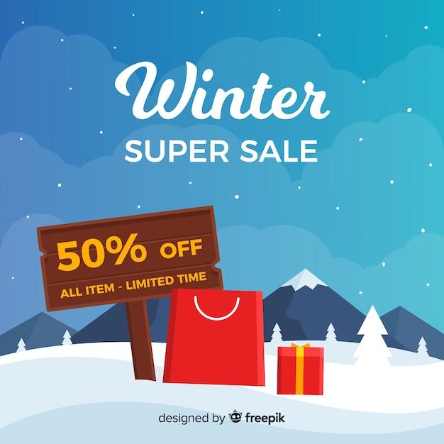 Bannière super vente d'hiver Vecteur gratuit