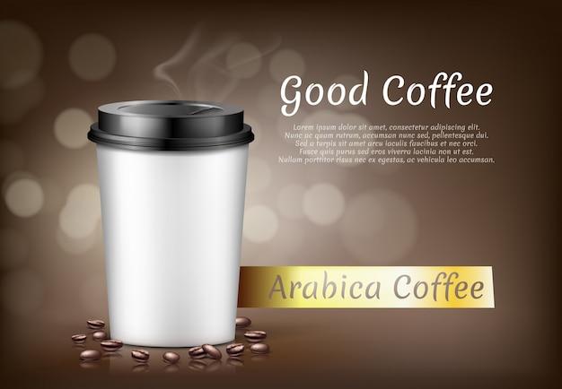 Bannière avec une tasse de café arabica pour aller et des haricots, un récipient en carton pour boisson chaude Vecteur gratuit