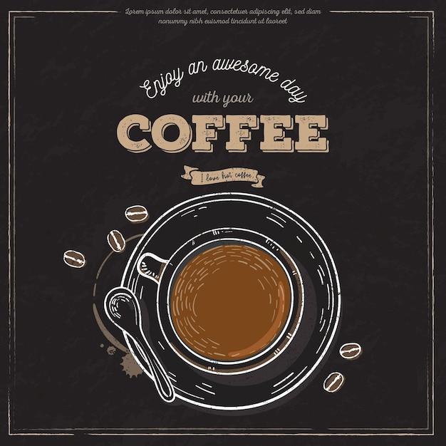 Bannière De Tasse De Café Vintage Vecteur gratuit
