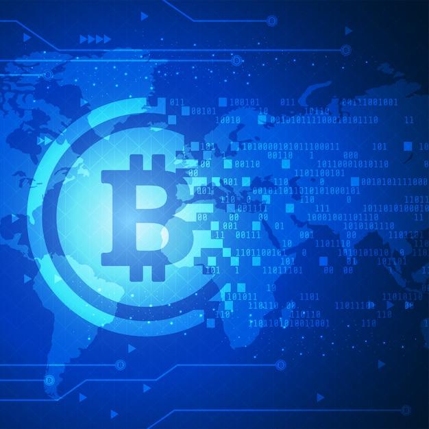 Bannière De Technologie Bitcoin Avec Fond De Carte Du Monde Vecteur Premium
