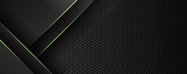 Bannière De Technologie Futuriste Abstraite Lumière Verte Vecteur Premium