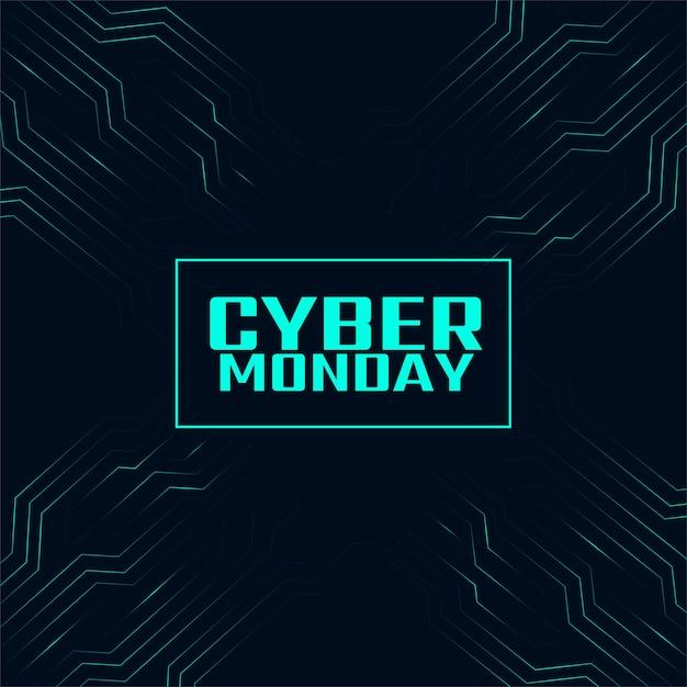 Bannière De Technologie Numérique élégante Cyber Lundi Vecteur gratuit