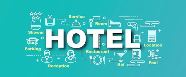 Bannière de tendance vecteur hôtel Vecteur Premium