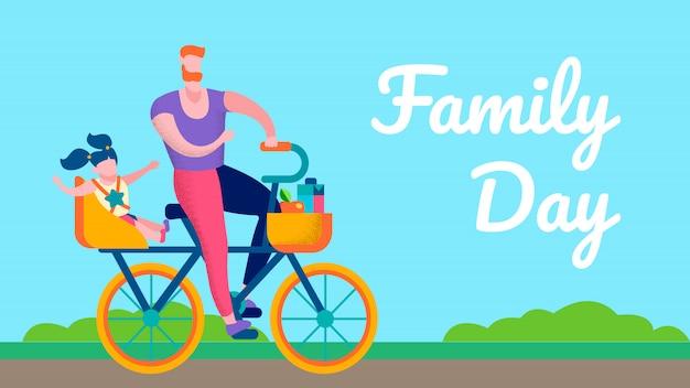 Bannière de texte plat de motivation pour la journée en famille Vecteur Premium