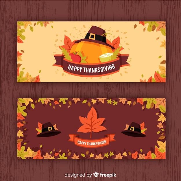 Bannière de thanksgiving avec citrouilles Vecteur gratuit