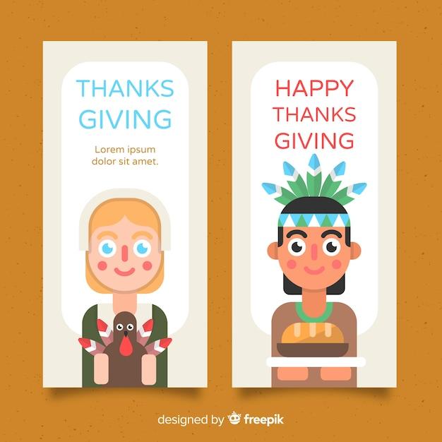 Bannière de thanksgiving avec personnages mignons Vecteur gratuit