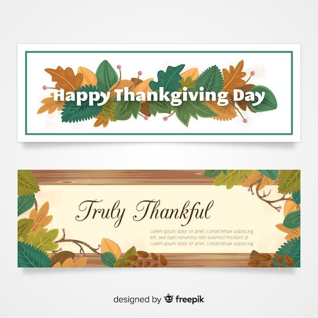 Bannière de thanksgiving sertie d'éléments de l'automne Vecteur gratuit
