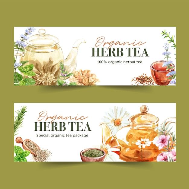 Bannière de thé aux herbes avec basilic, sarriette, menthe poivrée, illustration aquarelle de romarin. Vecteur gratuit