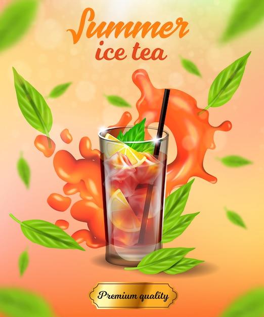 Bannière de thé glacé d'été, boisson froide de qualité supérieure Vecteur Premium