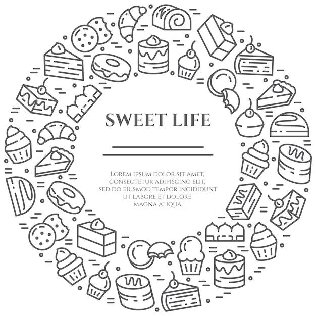 Bannière thème gâteaux et biscuits Vecteur Premium