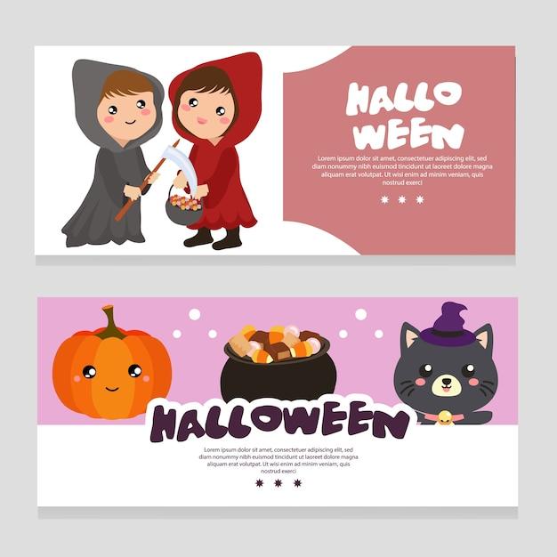 Bannière thème halloween avec costume capuche rouge Vecteur Premium