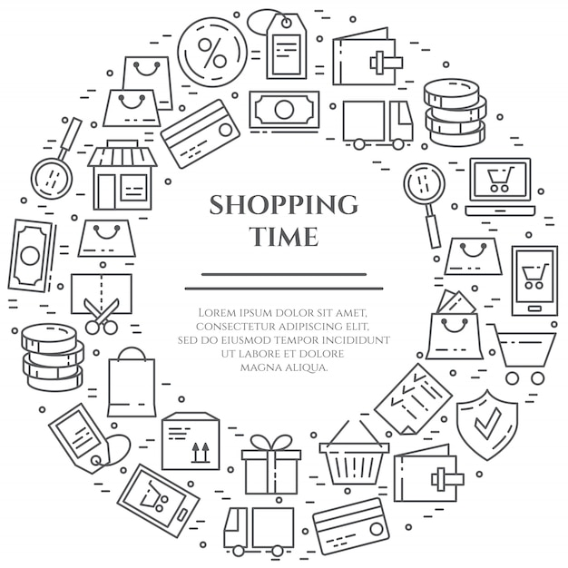 Bannière thème shopping. Vecteur Premium