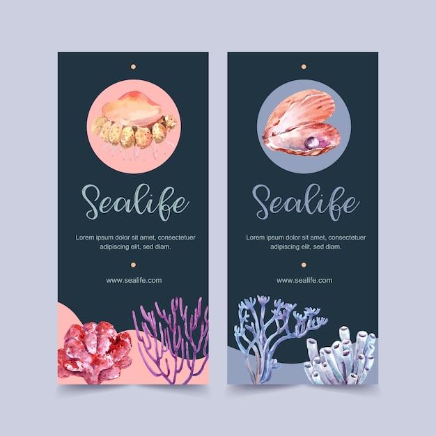 Bannière avec thème de la vie marine, modèle illustration aquarelle perle et corail Vecteur gratuit