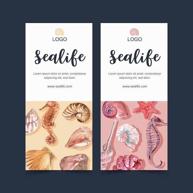 Bannière avec le thème de la vie marine, modèle d'illustration élément aquarelle. Vecteur gratuit