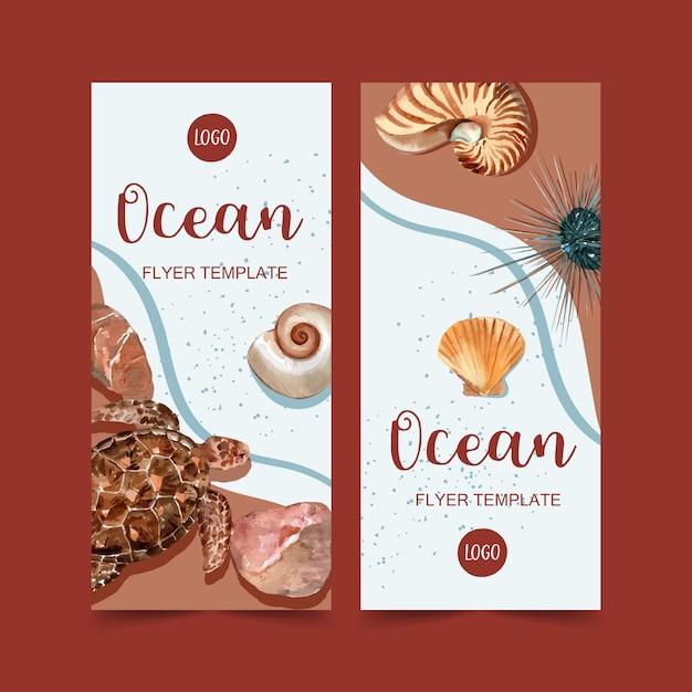 Bannière Avec Tortue Et Coquillages Sur Le Concept De Bord De Mer, Modèle Illustration Aquarelle Vecteur gratuit