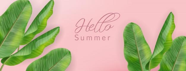 Bannière Tropic Palm Avec Bonjour été Vecteur Premium