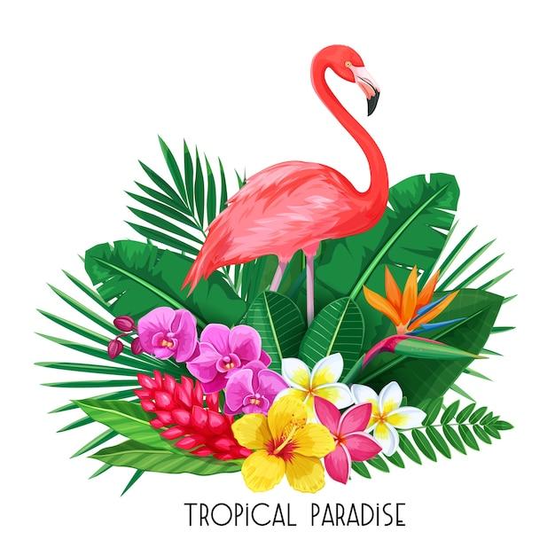 Bannière Tropicale. Conception D'été Pour La Publicité Avec Flamant Rose, Feuilles Tropicales Et Fleurs. Vecteur Premium