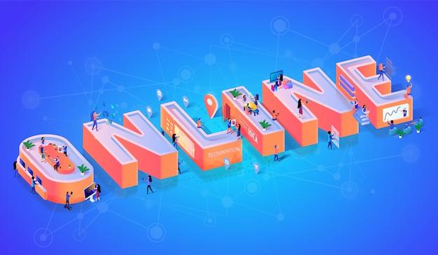 Bannière de typographie de technologie en ligne Vecteur Premium