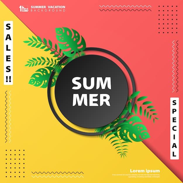 Bannière de vacances d'été abstrait vente Vecteur Premium