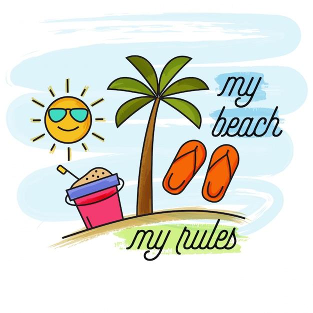 Bannière de vacances d'été aquarelle. ma plage, mes règles Vecteur Premium
