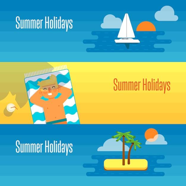 Bannière De Vacances D'été Avec Bain De Soleil Pour Homme Vecteur Premium