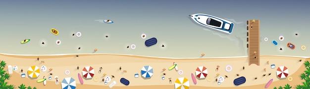 Bannière de vacances d'été sur la plage Vecteur Premium