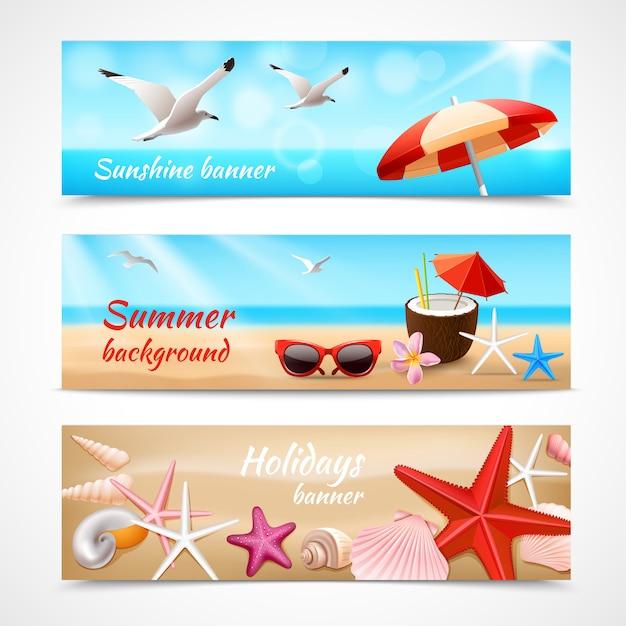 Bannière de vacances d'été Vecteur gratuit