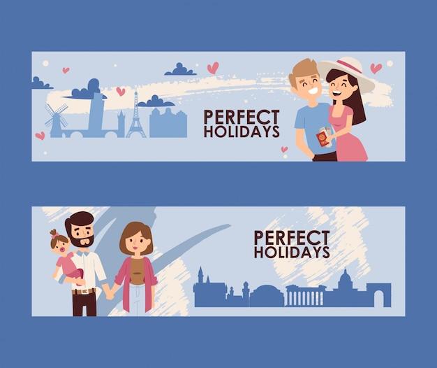 Bannière de vacances en famille, voyage romantique jeune couple Vecteur Premium