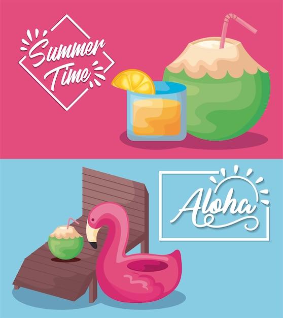 Bannière de vacances de l'heure d'été avec cocktails et char flamand Vecteur gratuit