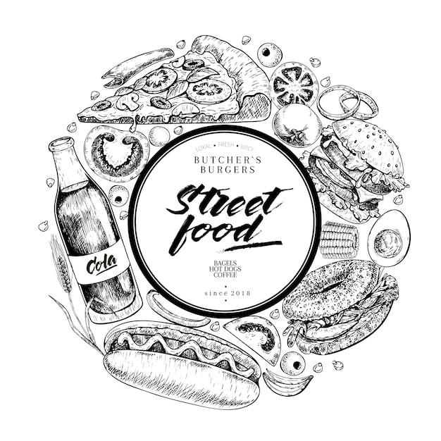 Bannière de vecteur de fast-food dessiné main Vecteur Premium