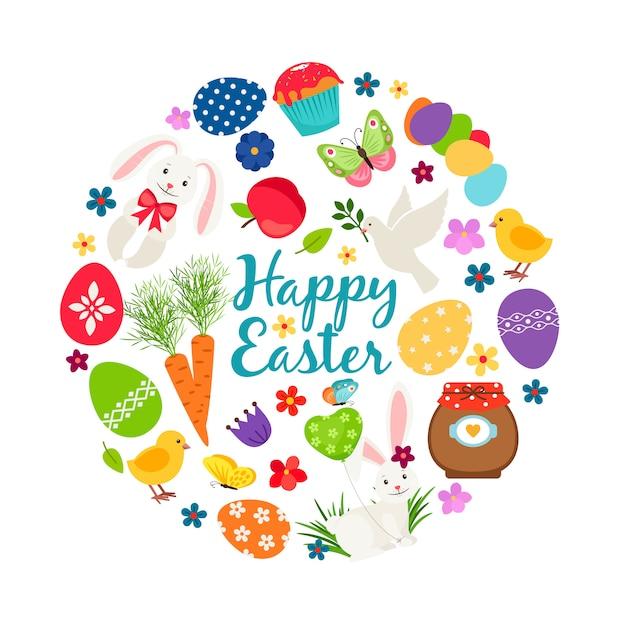Bannière De Vecteur Imprimable Joyeuses Pâques Printemps Dessin Animé Avec Des Oeufs, Des Lapins Et Des Fleurs Vecteur Premium