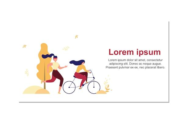 Bannière de vecteur moderne de personnes actives style de vie plat Vecteur Premium