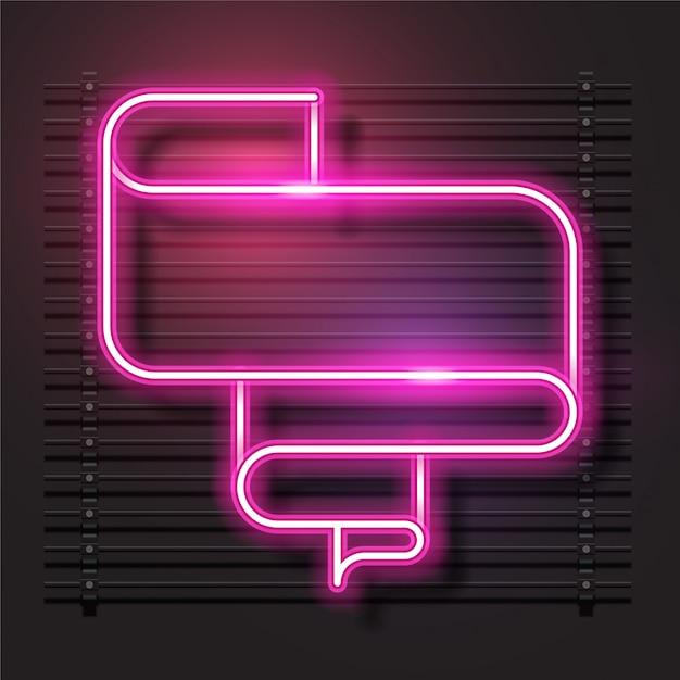 Bannière de vecteur de néon moderne. conception de modèle rose. Vecteur Premium