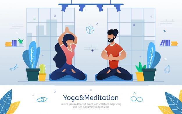 Bannière De Vecteur Plat De Cours De Yoga Et De Méditation Vecteur Premium