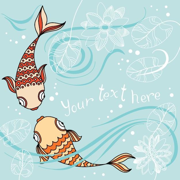 Bannière de vecteur avec poisson flottant dans la mer, nénuphar et place pour votre texte Vecteur Premium
