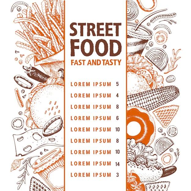 Bannière de vecteur de restauration rapide. modèle de conception de menu de rue alimentaire. Vecteur Premium