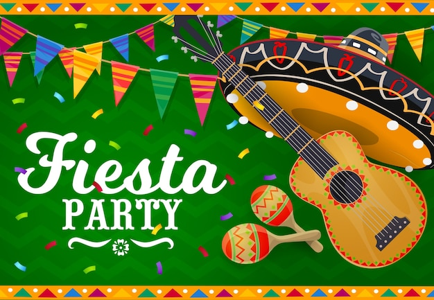 Bannière De Vecteur Sombrero Mexicain, Guitare Et Maracas. Vecteur Premium