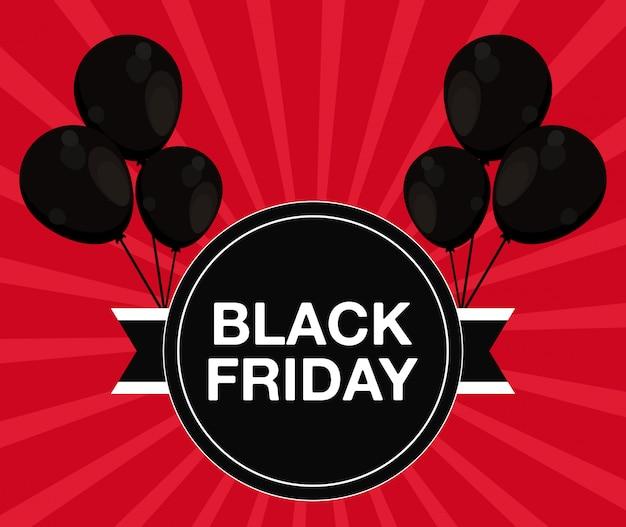 Bannière de vendredi noir avec air de ballons Vecteur Premium