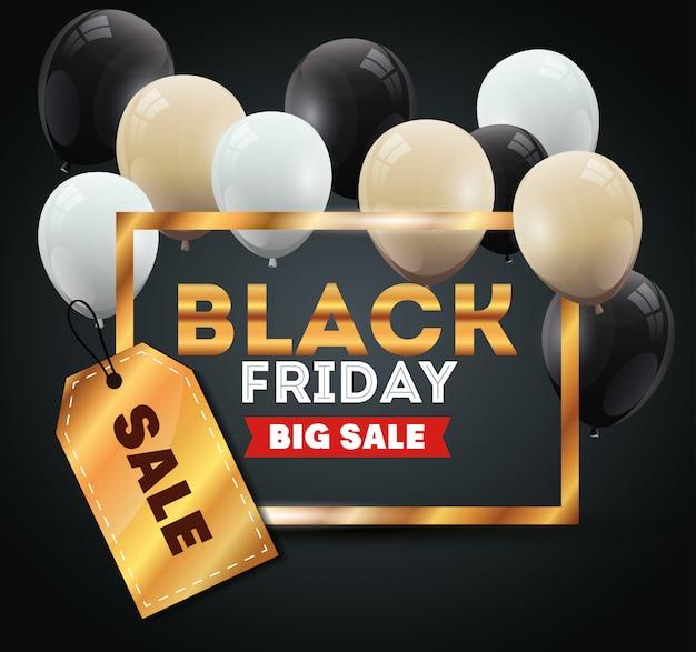 Bannière De Vendredi Noir Avec Décoration D'hélium De Ballons Vecteur Premium