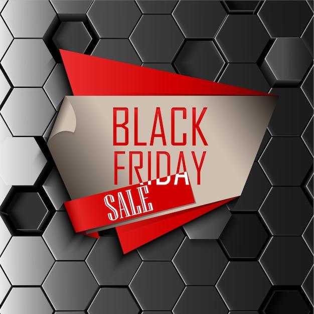Bannière de vendredi noir sur fond hexagonal de métal abstraite Vecteur Premium