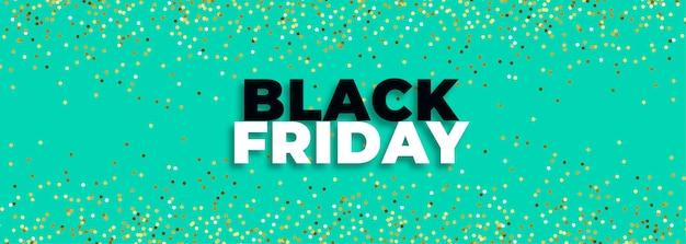 Bannière de vendredi noir turquoise avec des paillettes d'or Vecteur gratuit