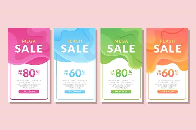Bannière de vente abstraite liquide coloré Vecteur Premium
