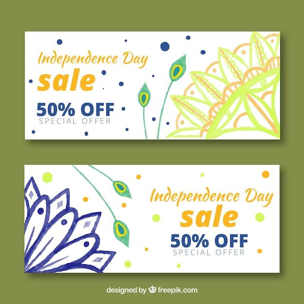 Bannière de vente d'aquarelle inde fête de l'indépendance Vecteur gratuit